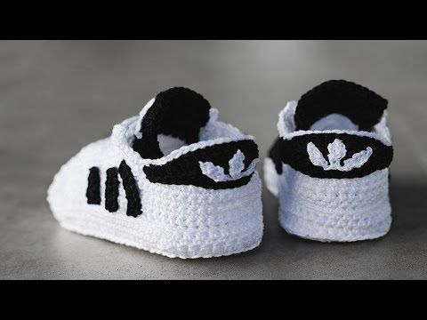 Zapatitos adidas tejidos a crochet 3 6 meses | parte 12