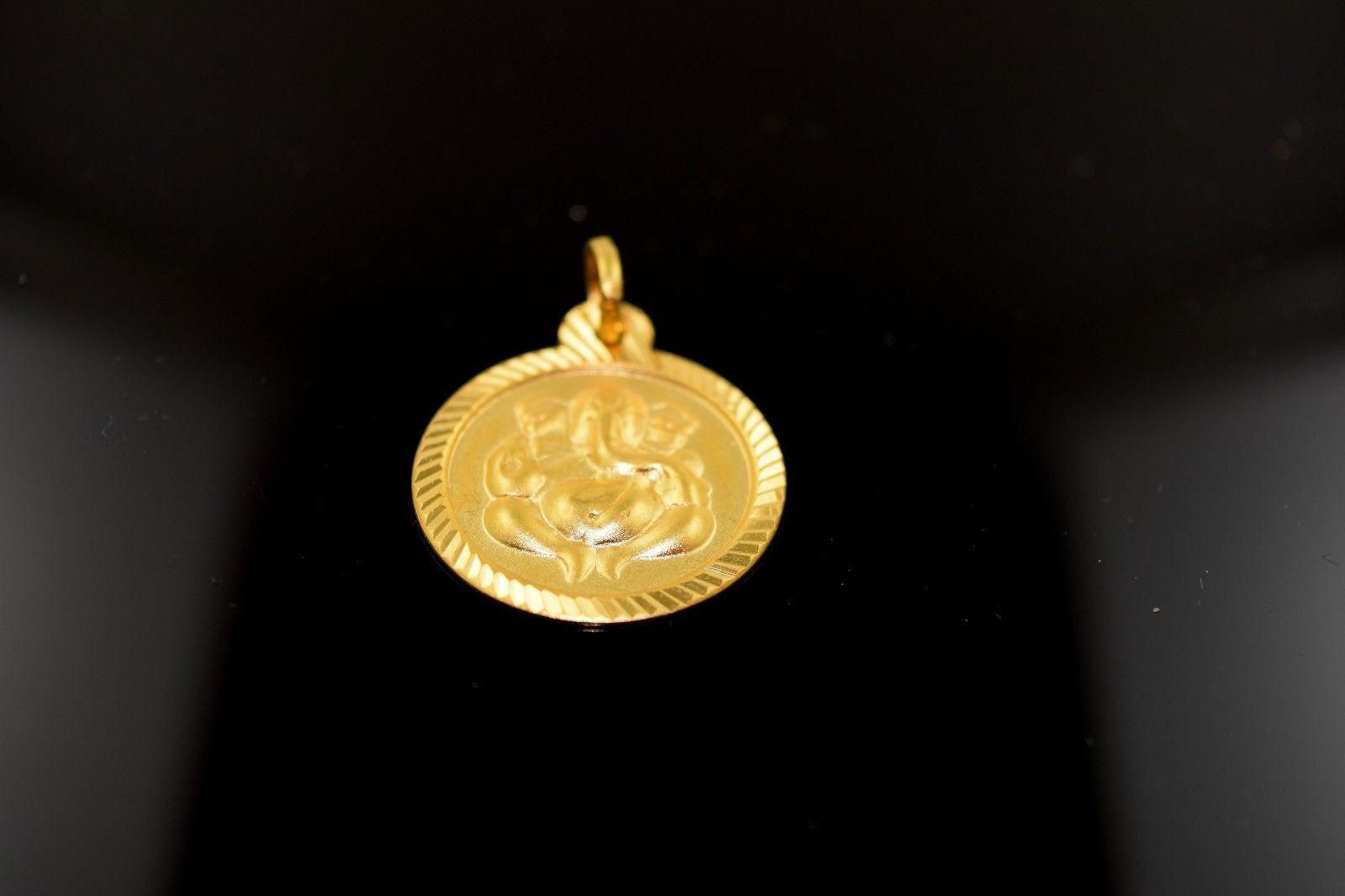22k 22ct Solid Gold Hindu religious Ganesh Pendant glossy finish P366