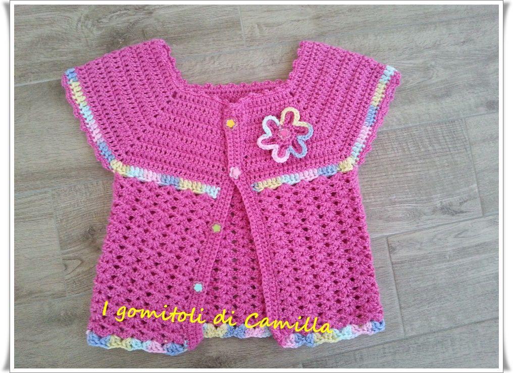 Giacchino Semplice A Uncinetto Per Bimba Copertina Rosa Crochet