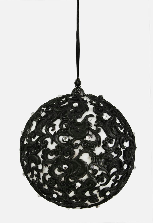 4 75 Black And White Jewel Filigree Ball Christmas Ornament Christmas Ornaments Black Christmas Trees Silver Christmas Decorations