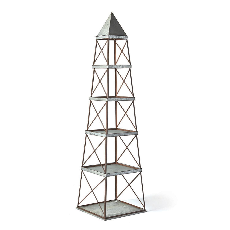 obelisk furniture. 96\u201d Industrial Galvanized Gray Metal Obelisk 5-Shelf Etagere, Grey Metallic Furniture