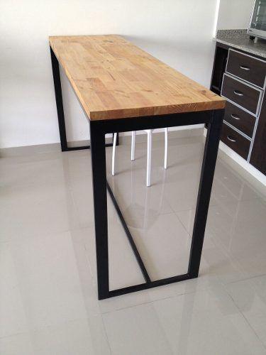 Mesa hierro y madera desayunador cocina madera negro y for Muebles de cocina de hierro