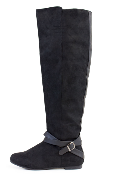 Black Faux Suede Over The Knee Boots With Strap Accent