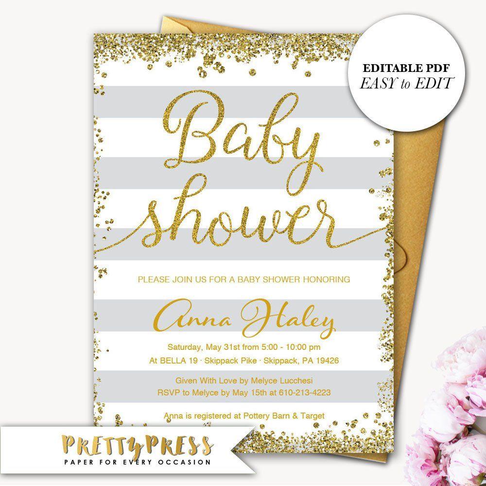 Gender Neutral Baby Shower Invitations, Editable Baby
