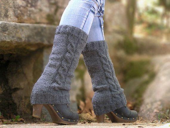 Leg Warmers Knit Grey Acrylic Boot Cuffs Hand Knitted