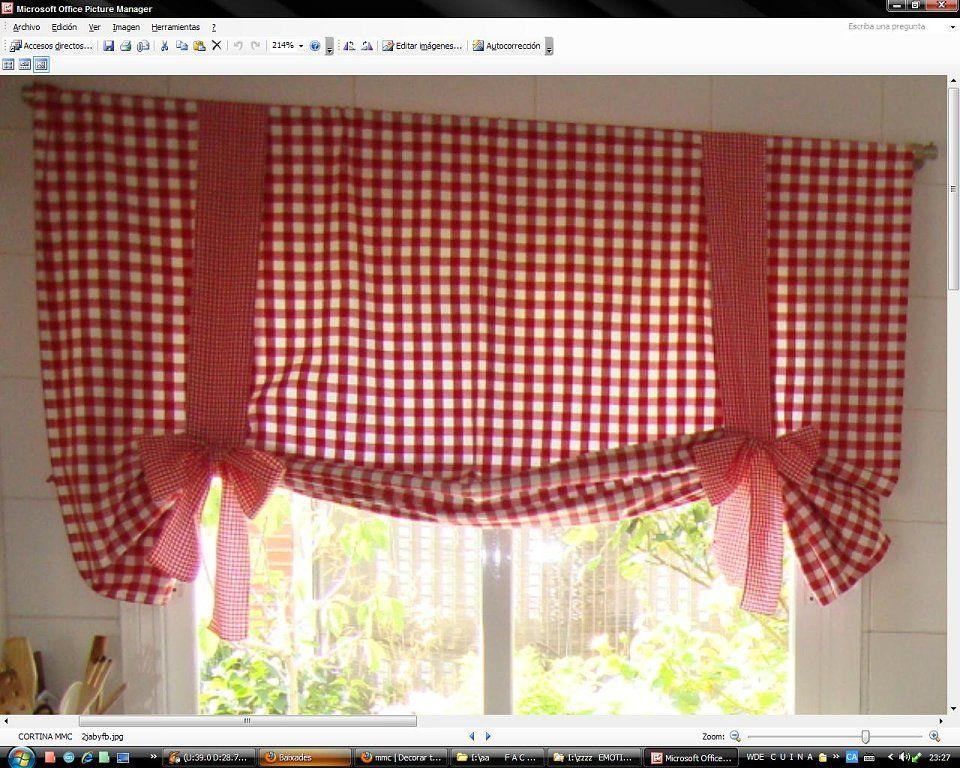 como hacer cortinas para cocina  Buscar con Google  Coci