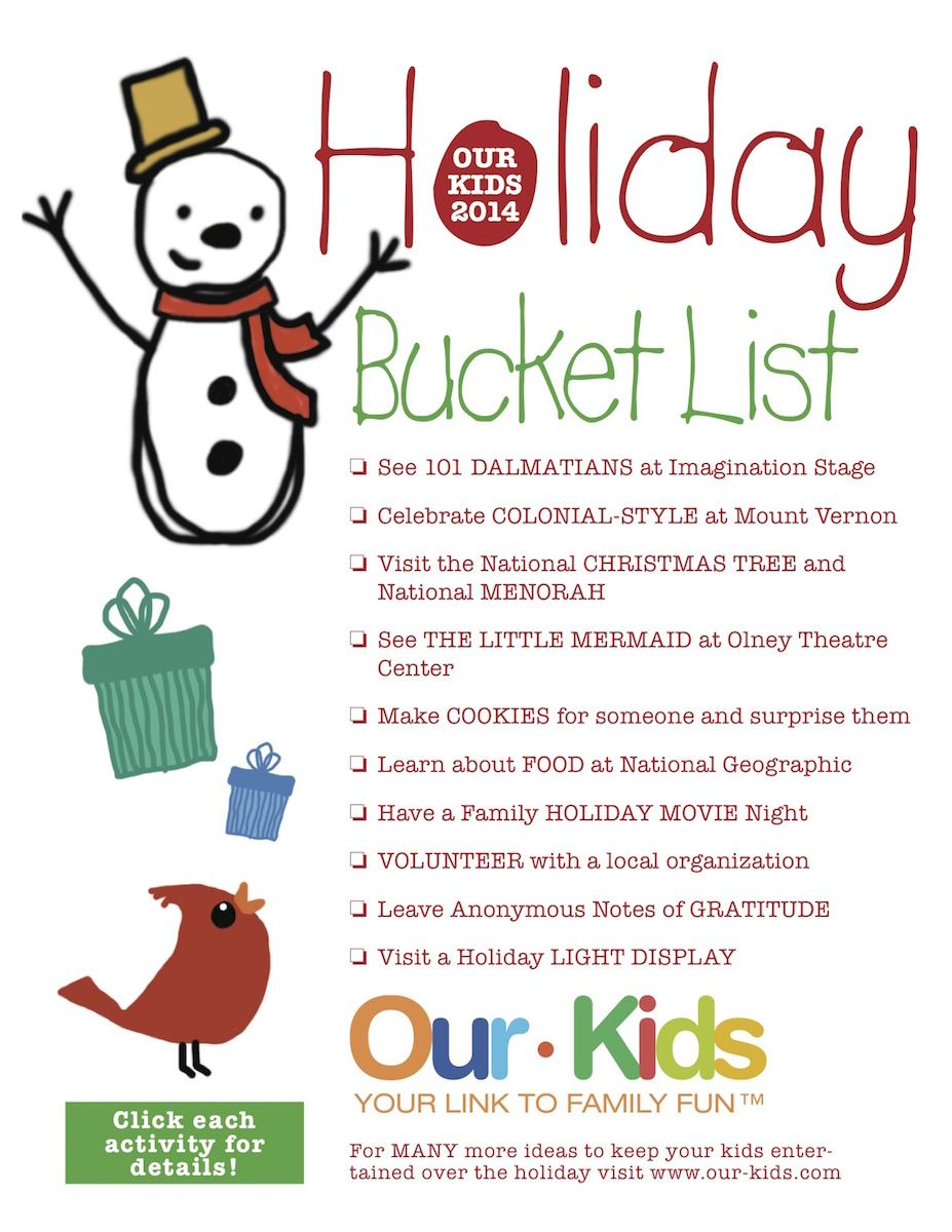 print and save the our kids holiday bucket list