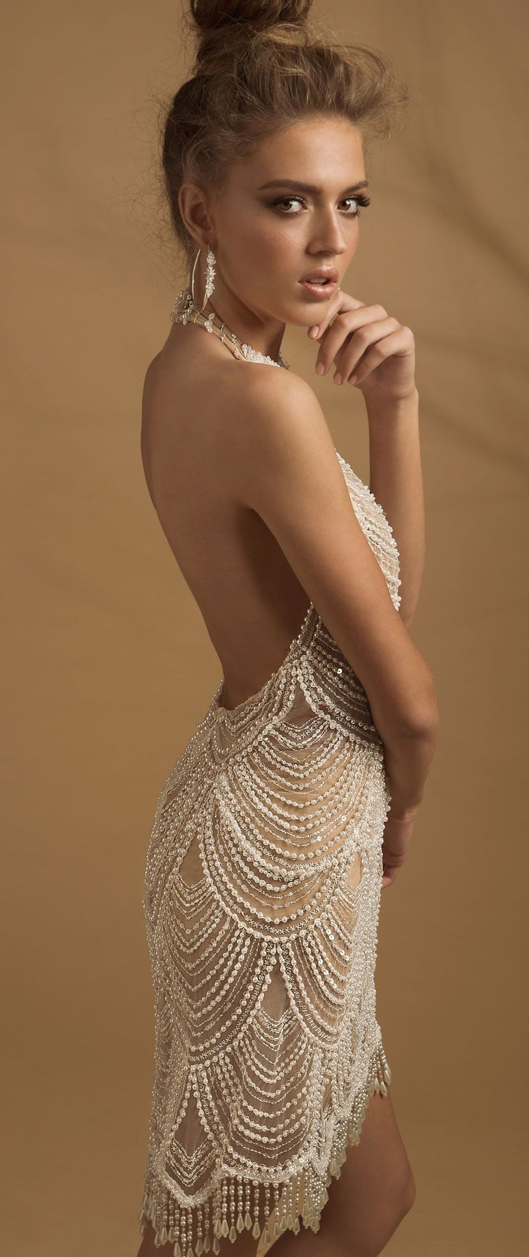 Halter neckline heavy embellishment short wedding dress #wedding #weddingdress #weddinggown