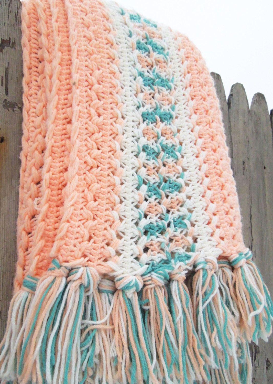 Vintage peach teal blue white crochet afghan throw blanket