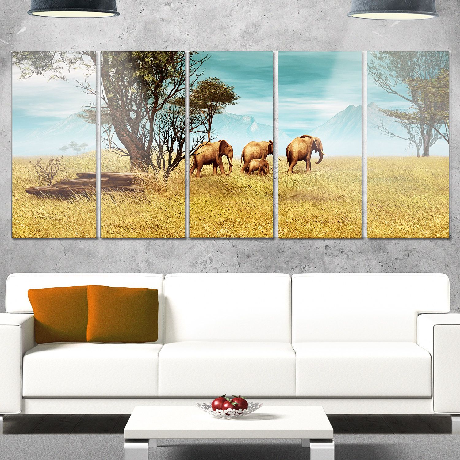 Designart \'African Elephants Panorama\' African Wall Art Glossy Metal ...