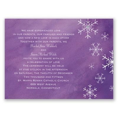 Romantic Snowfall Wedding Invitation - Grapevine