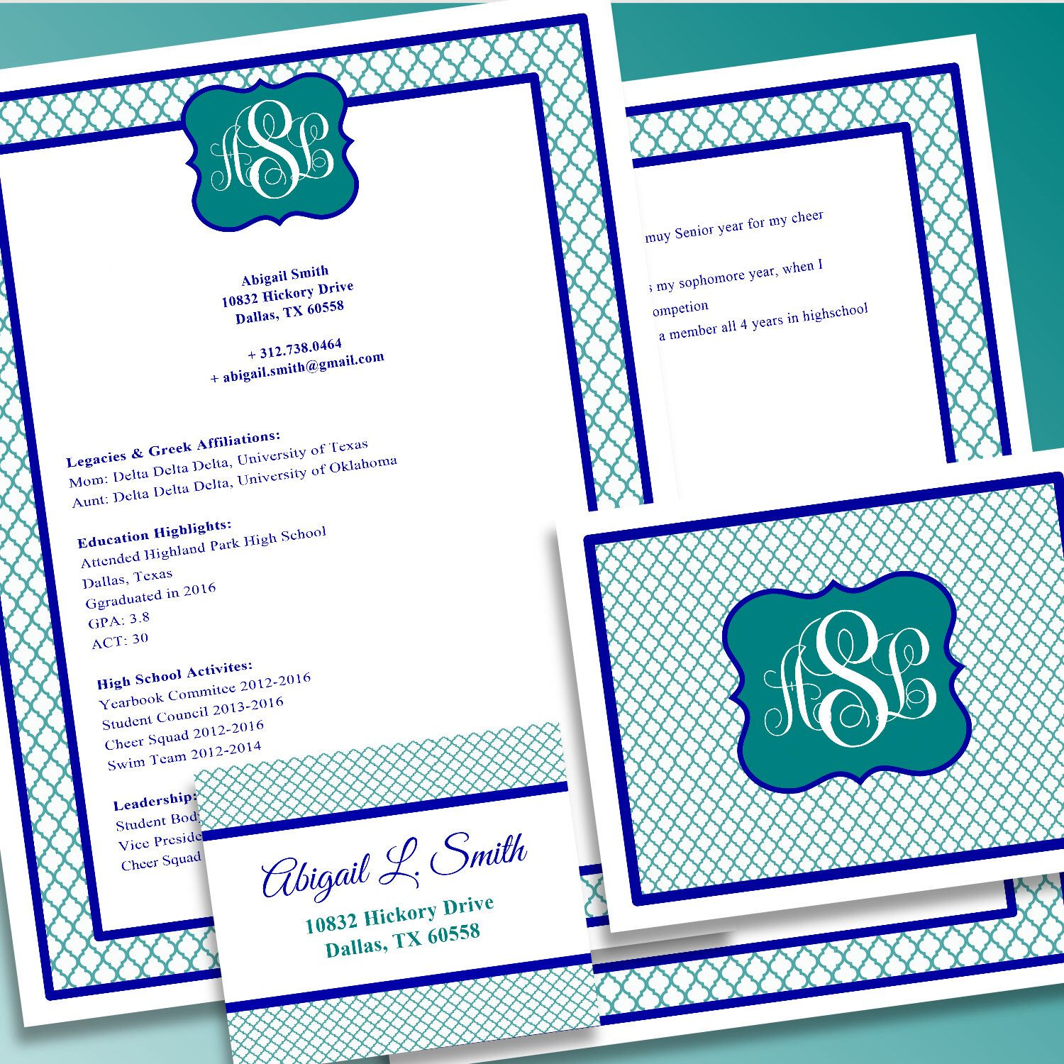 Digital Printable Sorority Recruitment Packet With Resume Added - Free rush resume template