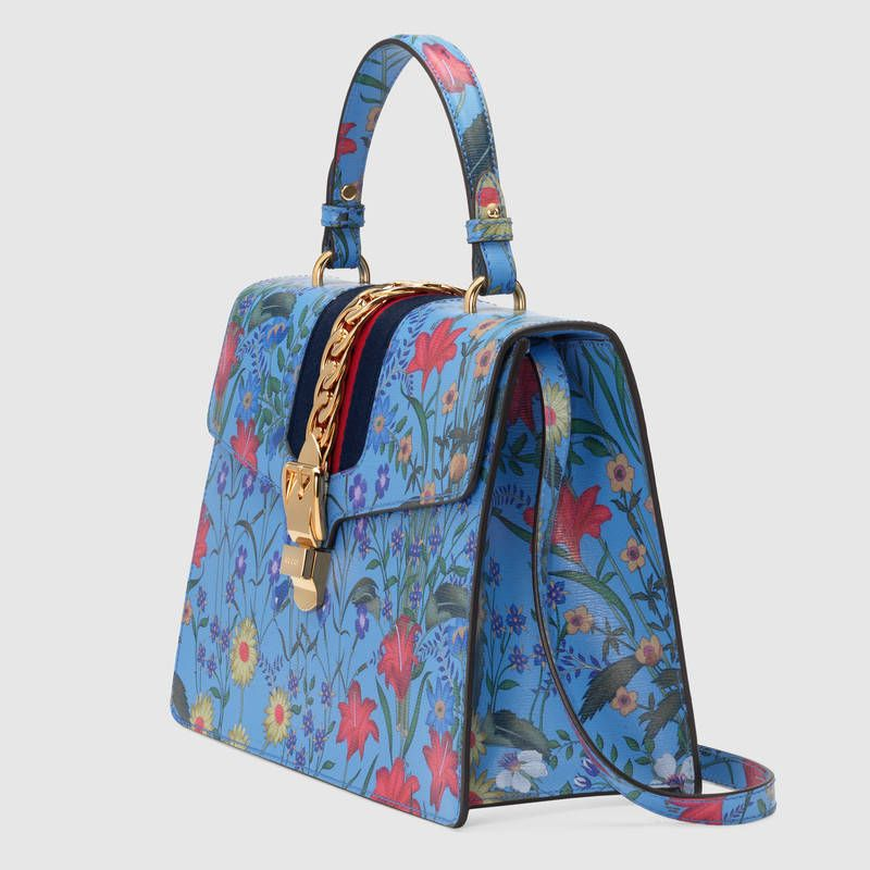 98f9a25ad87 Gucci Sylvie New Flora leather top handle bag Detail 2