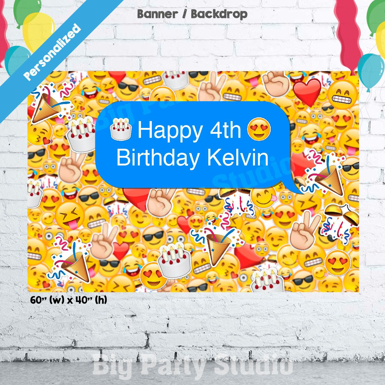 Emoji Icons Banner, Emoticons Birthday Backdrop, Emoji Photo Booth ...