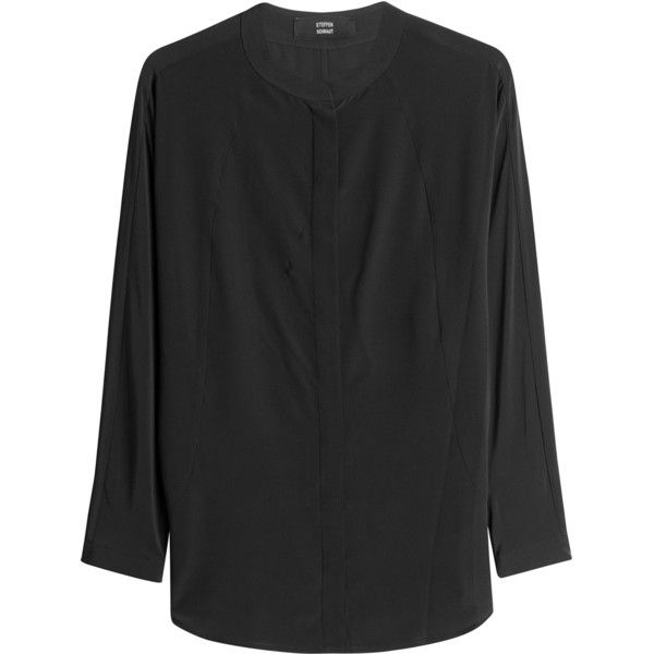 Steffen Schraut Silk Blouse (410 CAD) ❤ liked on Polyvore featuring tops, blouses, black, oversized tops, stretch silk blouse, silk blouse, loose fitting tops and long sleeve stretch top