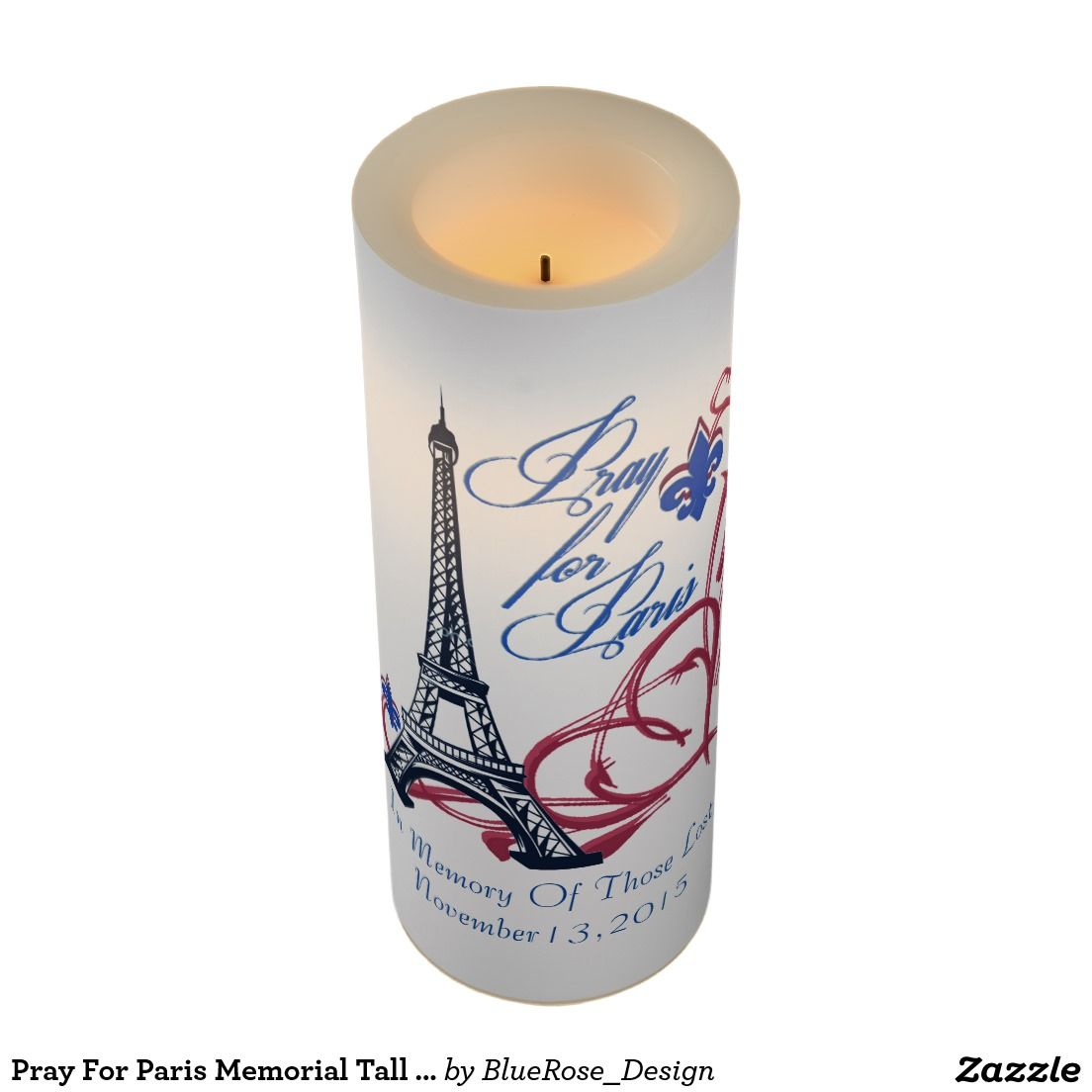 Pray for paris memorial tall flameless candle decorate