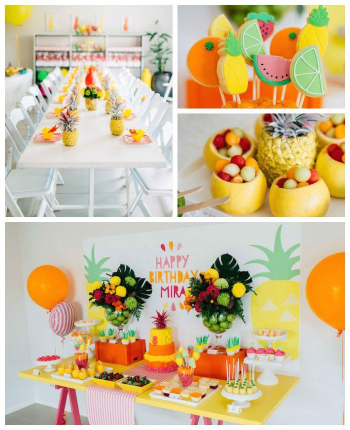 Tutti Frutti Pineapple Themed Birthday Party Ideas