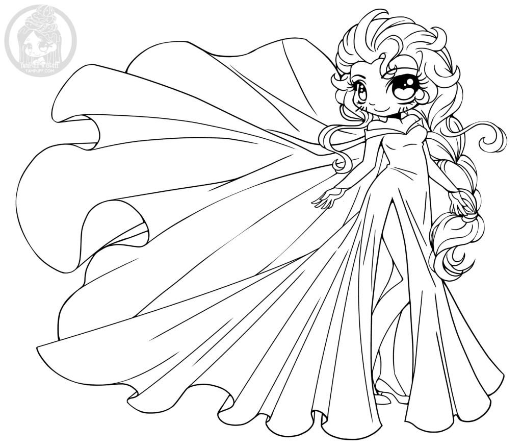 Disney Frozen Elsa Princesse Chibi A Colorier Par Yampuff