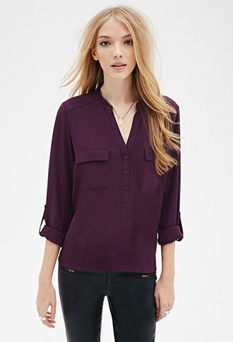 Three-Button Flat Collar Blouse from Forever 21