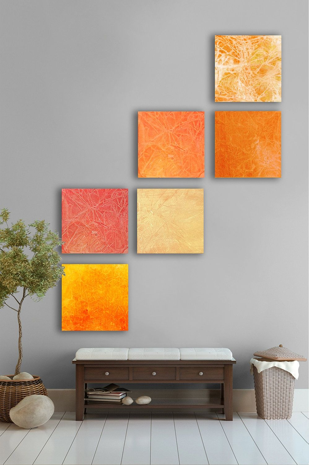 Summer Sunset Abstract Painting 8 Square Custom Abstract Wall Art Large Abstract Artwork Orange Yellow Re Orange Home Decor Decor Painted Furniture Colors