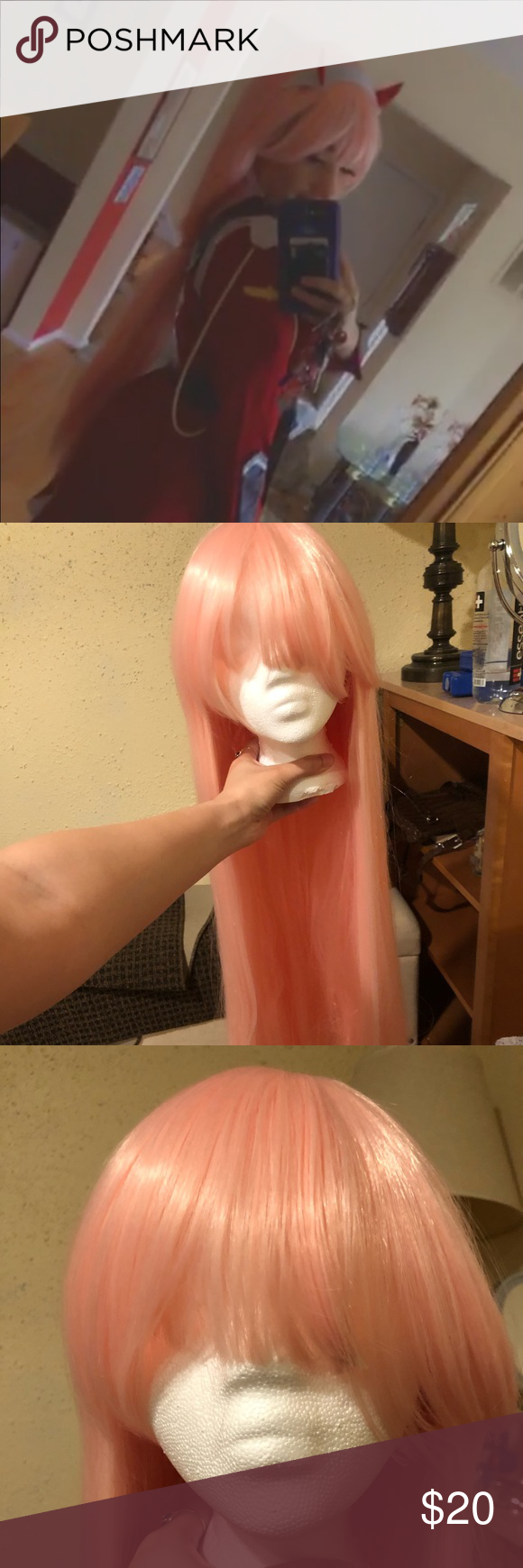 Long pink synthetic wig Used it for a ZeroTwo (002) cosplay for Halloween. *Sold as is*, a bit tangled at the bottom. Selling with wig head and a wig brush. Other