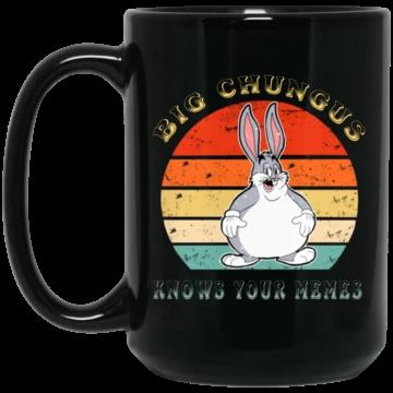 Retro Vintage Funny Big Chungus Meme Black Mug Mugs Vintage Humor Retro Vintage