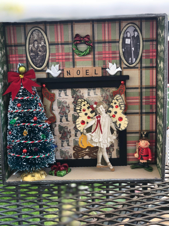 The Fireplace Christmas Shadow box by MimisMixedMedia on