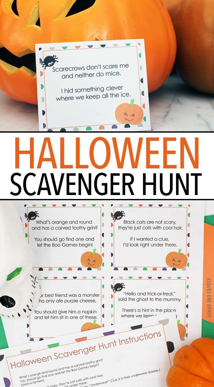 Fun Halloween Scavenger Hunt with Printable Clues | Halloween ...