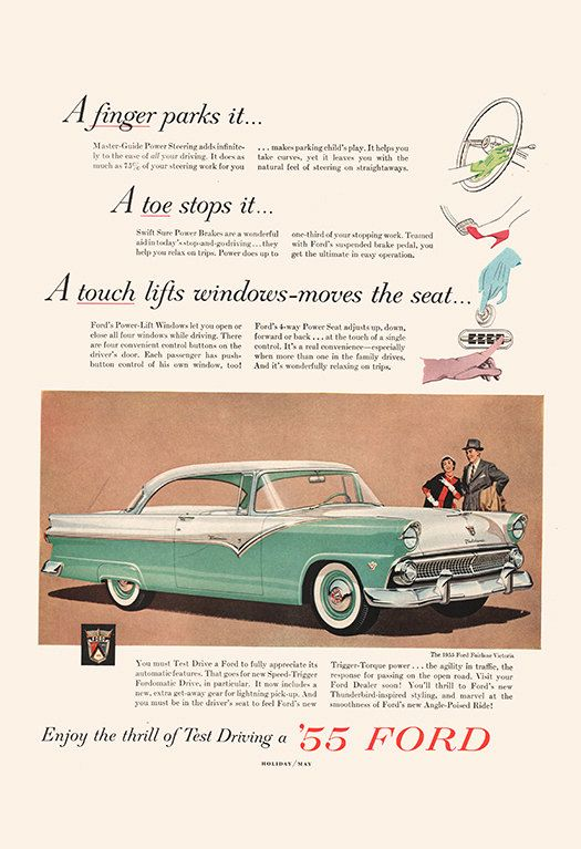 VINTAGE FORD CAR Ad – Classic Car Ad Mid-Century Poster – Garage Mechanic Shop 1955 Ford Ad Classic Car Poster 1950's Car Art Rockabilly