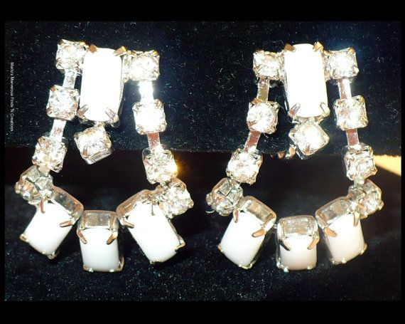 Milkglass & Rhinestone Earrings ~ The Perfect Wedding / Bridal Earrings by MarlosMarvelousFinds