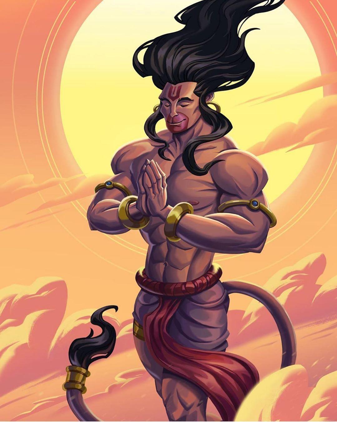 """ॐ  ???? ṠṏṆḭḀ ???? ॐ on Instagram: """"Lovely artwork of Hanuman ji"""