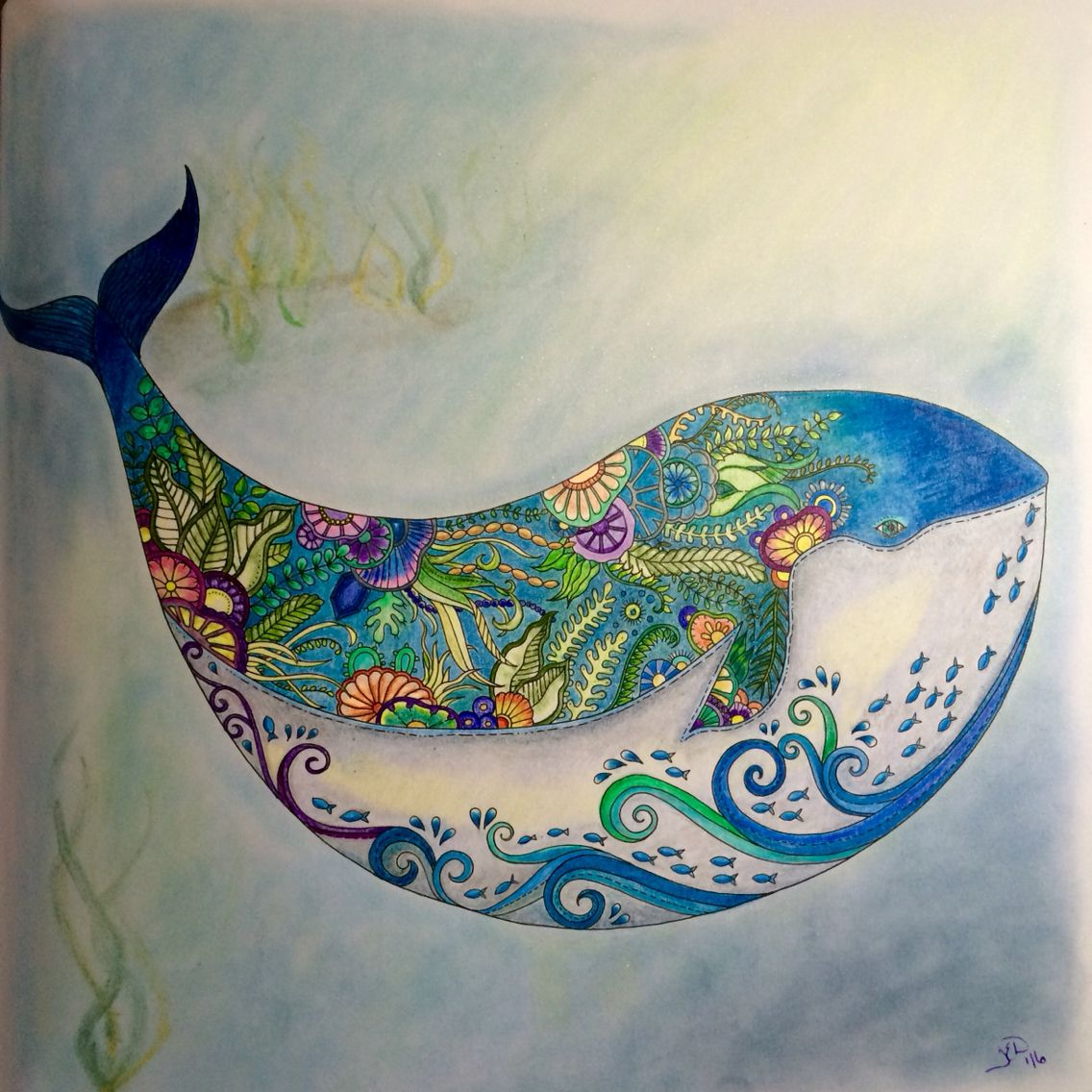 Completed Johanna Basford Lost Ocean Whale Teresa Dodd Johanna Basford Coloring Book Johanna Basford Lost Ocean Basford