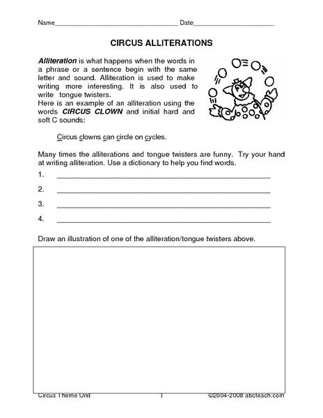 Circus Alliterations 2nd 3rd Grade Worksheet Lesson