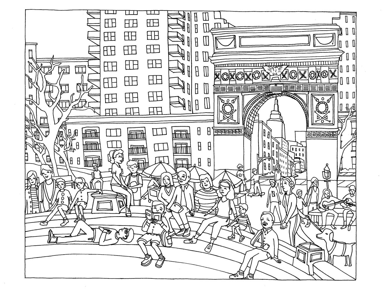Free Coloring Page Adult New York Washington Square Drawing