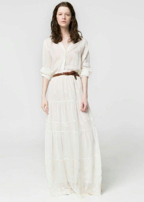 00263f0a5b Vestido blanco largo Mango