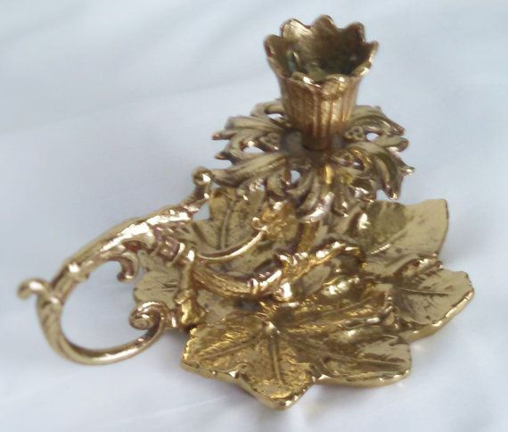 Maple Leaf Lacquered Brass Candlestick by ClassicVintageMetals