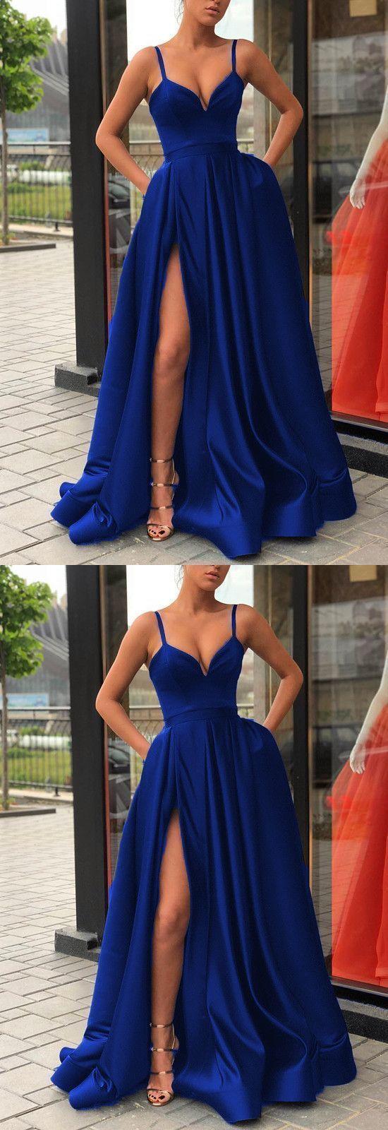 Royal Blue Prom Dress Slit Skirt, Dance Dresses, Graduation School Party Gown, DT0235 #bluepromdresses