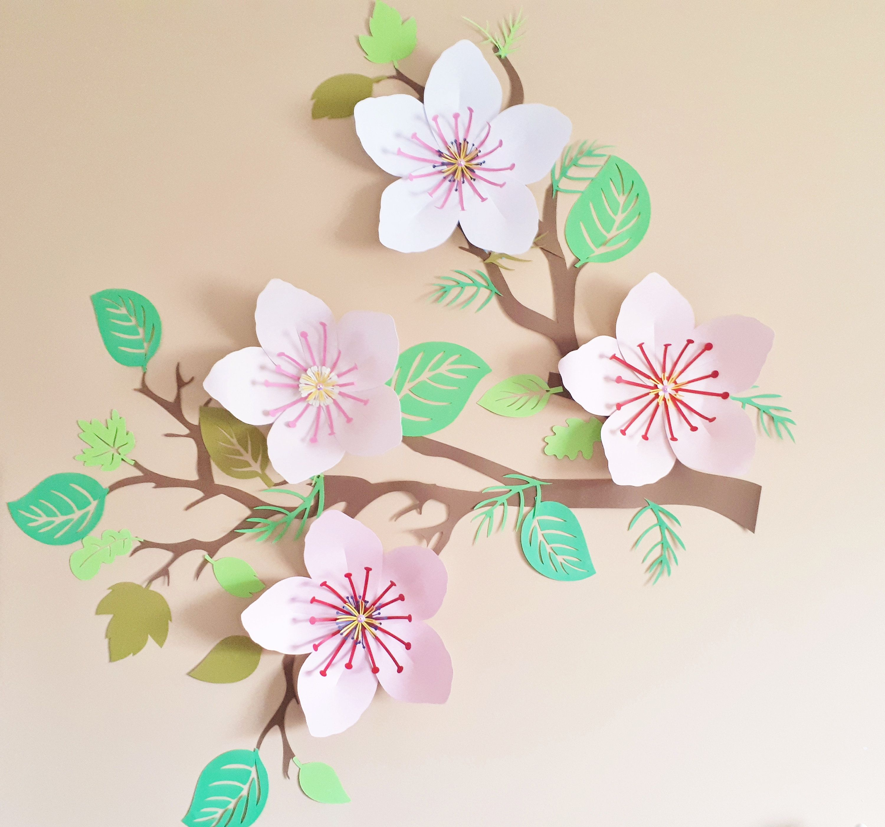 Cherry Blossom Tree Wall Art Decor For Bedrooms And Baby Nursery Customize In Your Choice Of Colours Flower Nursery Decor Tree Wall Art Paper Wall Art