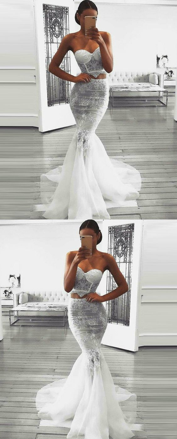 Two piece sweetheart sweep train white prom dress with lace