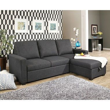 Hudson Fabric Reversible Storage Sectional With Pullout Bed Sofa