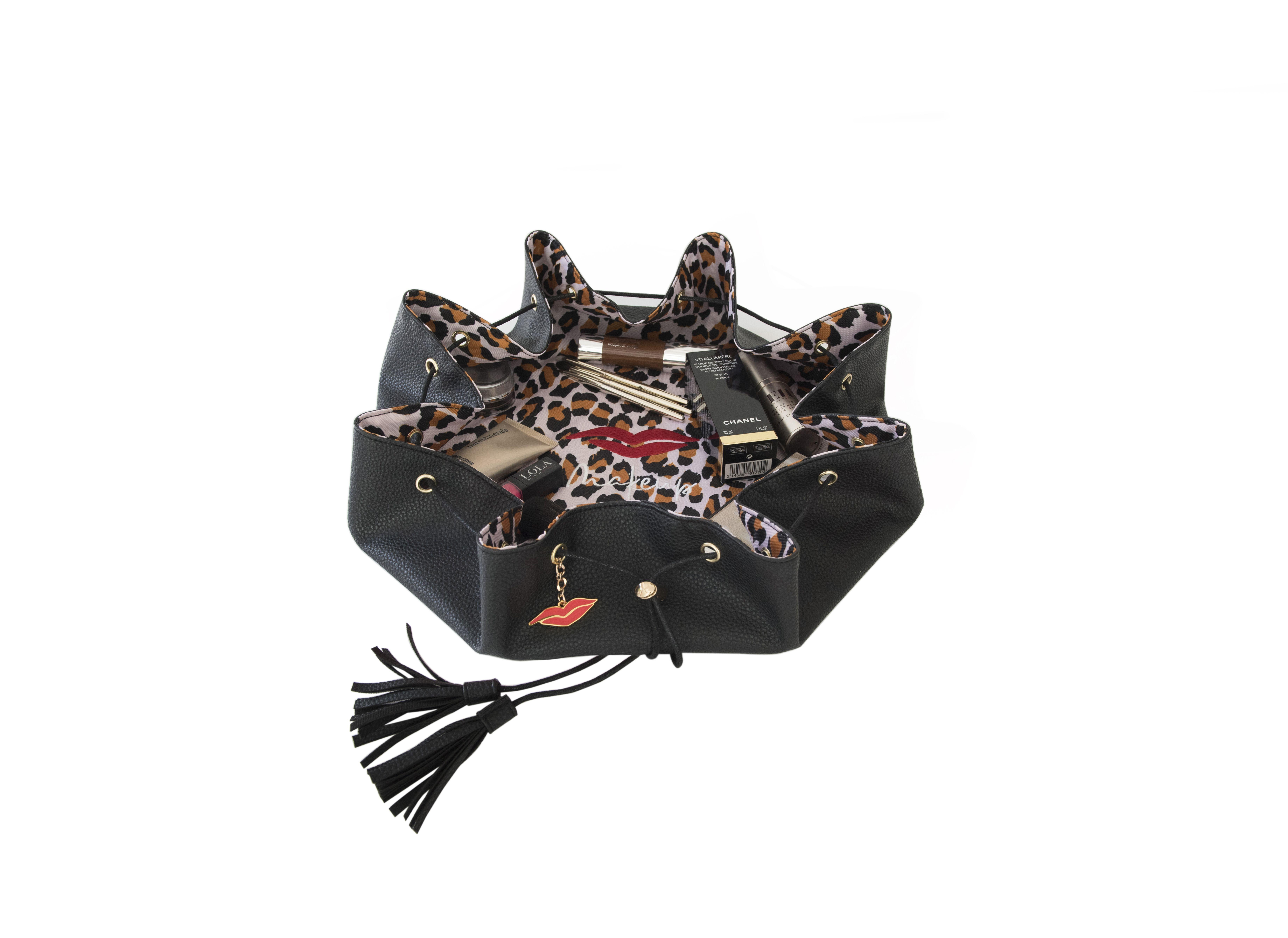 Black & Leopard Print Drawstring Makeup Bag Vegan