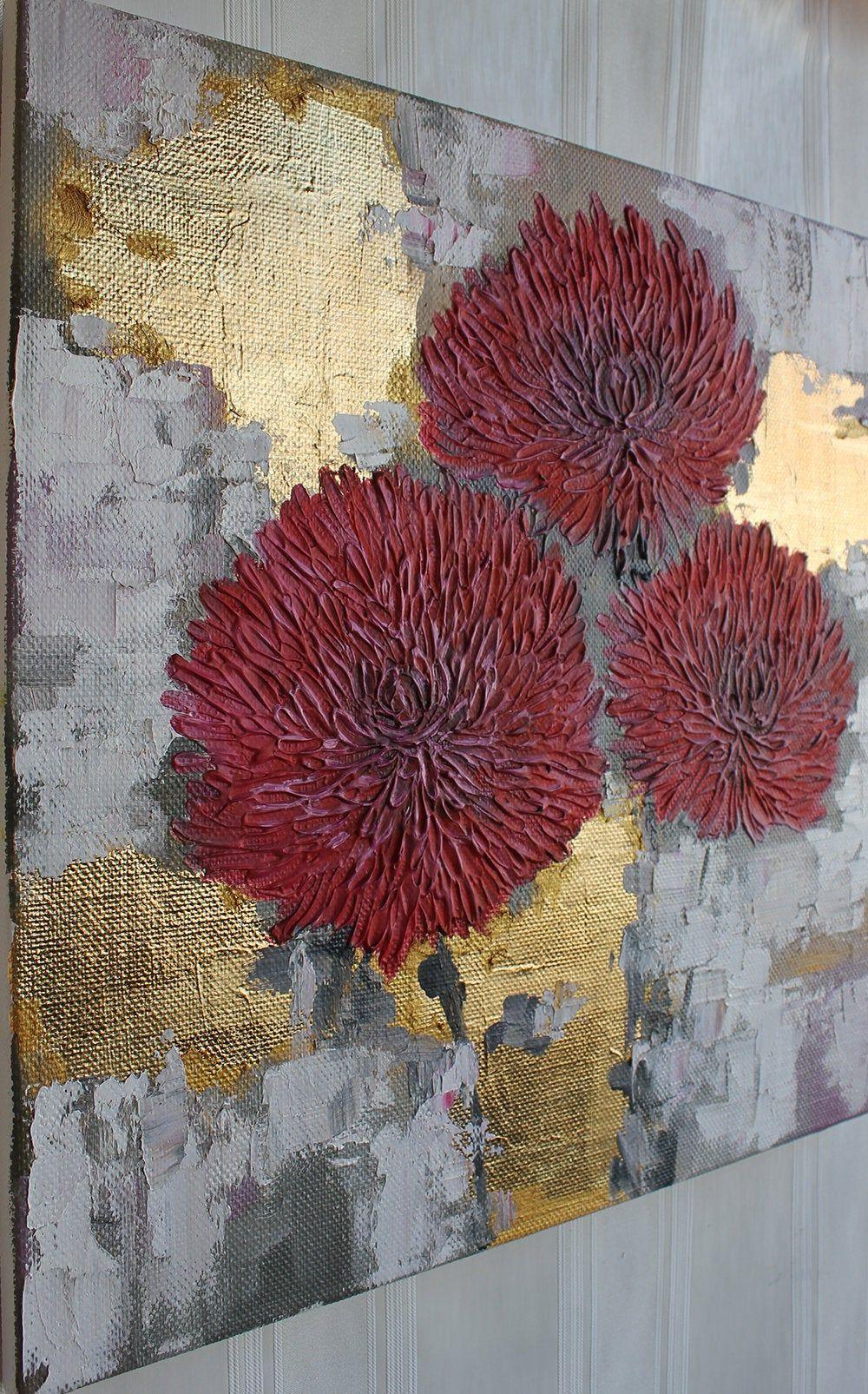Fleur abstraite Textured peinture mixte Feuille dor Blanc rose Peinture originale Magenta Mur art Cadeau pour la maison Texture coups de pinceau Toile