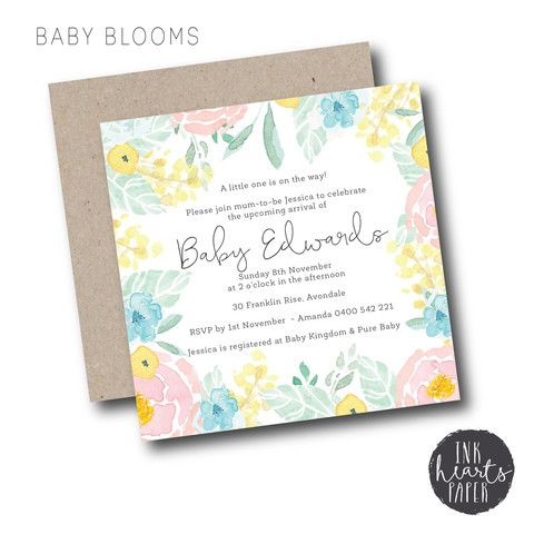 Baby blooms baby shower invitation set soft pastel blue pink unisex baby blooms baby shower invitation set soft pastel blue pink unisex boy girl beautiful floral watercolour filmwisefo Choice Image