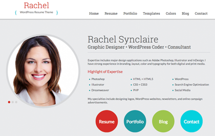 rachel is a wordpress resume theme designed for cv and personal websites the genesis child theme is mobile responsive and the template is built with