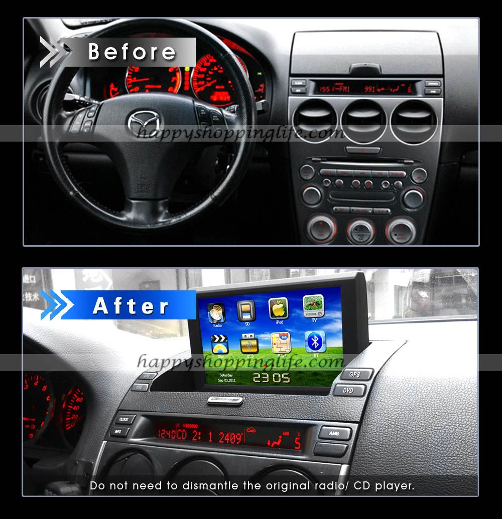 install dvd radio with gps navigation can bus for mazda 6. Black Bedroom Furniture Sets. Home Design Ideas