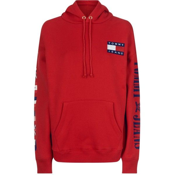 76f95486 Tommy Jeans Flag Hoodie (1.965.885 IDR) ❤ liked on Polyvore featuring tops,  hoodies, hooded sweatshirt, red hooded sweatshirt, red hoodie, cotton  hooded ...
