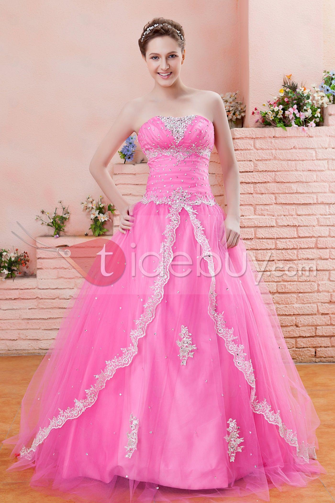 Hermoso Vestidos de Quinceañera/Ball Gown sin Mangas Largo al ...
