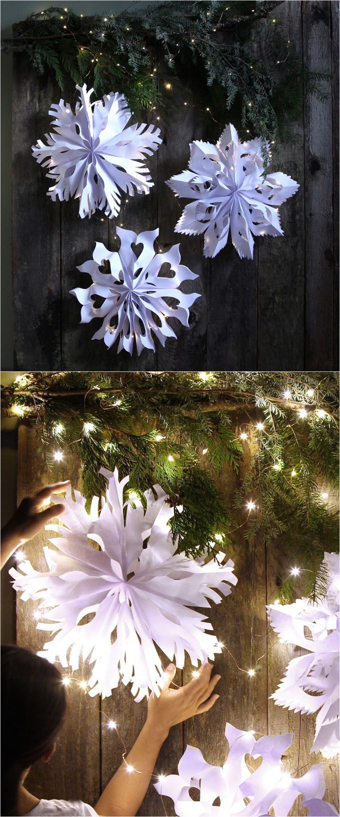Giant Snowflake Pendants from Paper Bags – Free White Paper Template