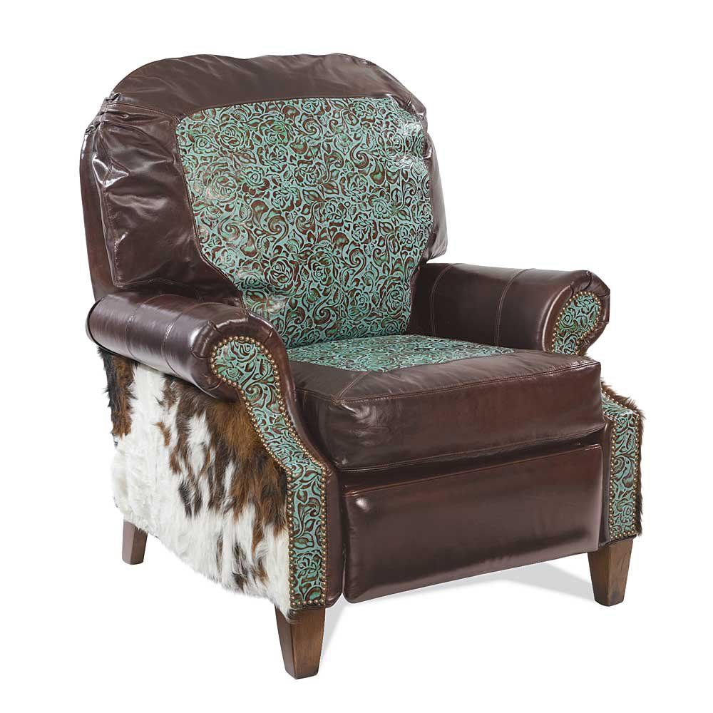 Love this turquoise tooled leather recliner let me know if you need my address so you can have it delivered to me