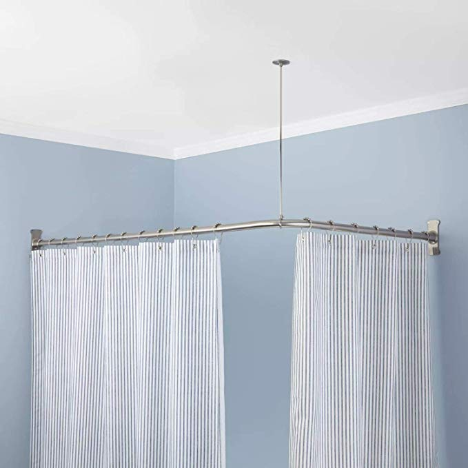 Naiture Aluminum 48 X 48 Corner Shower Curtain Rod With Ceiling Support Amazon Co Uk Kitchen Home Cabine D Essayage Easy Gres